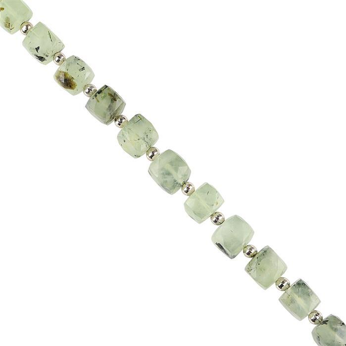 128cts Prehnite Graduated Faceted Cubes Approx 6 to 9mm, 18cm Strand.