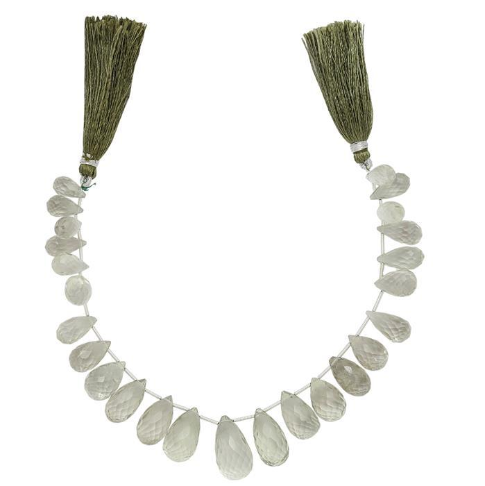 215cts Green Amethyst Graduated Faceted Drops Approx From 12x7 to 21x10mm, 17cm Strand.
