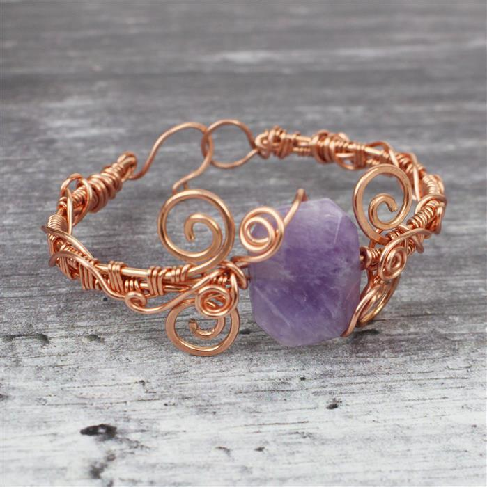 Woven Pendants; 350cts Light Amethyst Faceted Slabs & Rose Gold Wire