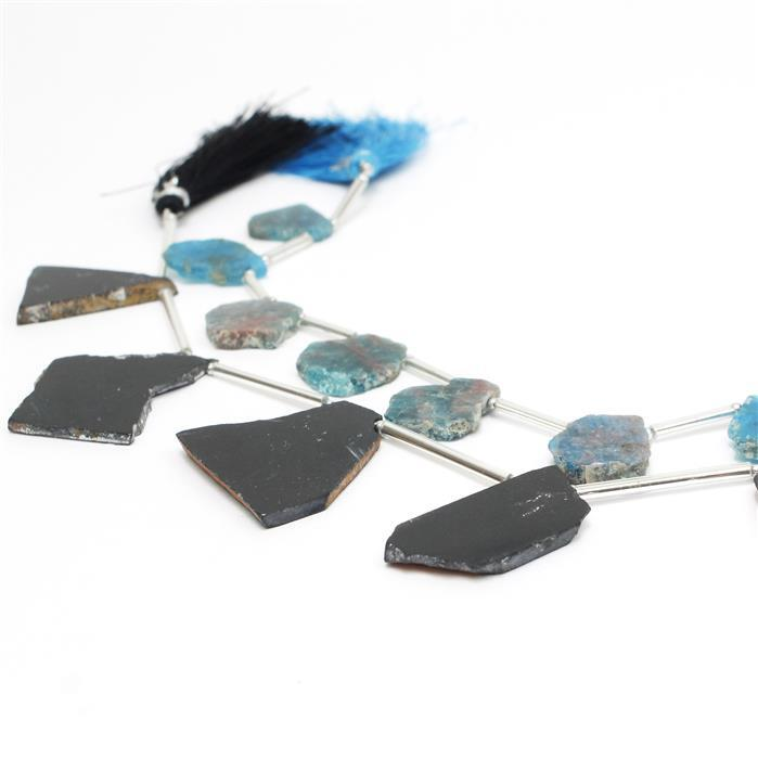 Slabs! Inc; 90cts Black Tourmaline & 55cts Neon Apatite!