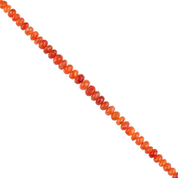 98cts Carnelian Graduated Faceted Rondelles Approx 5x3 to 9x6mm, 18cm Strand.
