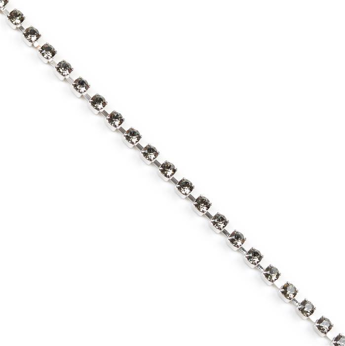 Swarovski Extended Cupchain, 27104, Black Diamond, Rhodium Brushed, PP32, 50cm