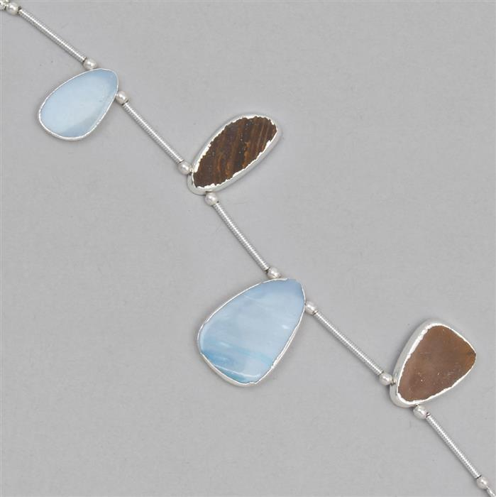 15cts Electroplated Doublet Opal Pendants Approx 14x10 to 18x11mm, 7cm Strand.