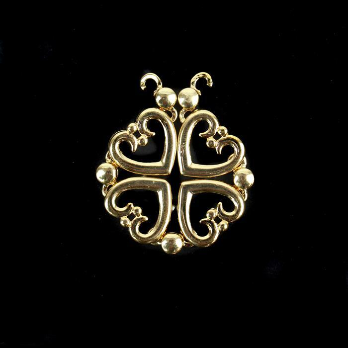 Gold Plated Brass Magnetic Heart Pendant/Connector Approx 32mm / 90x14mm (1pc)