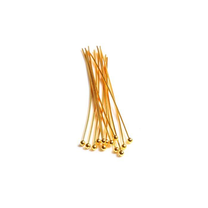 925 Gold Plated Sterling Silver Ball Head Pins - 50mm 22 Gauge/0.64mm - (20pcs)