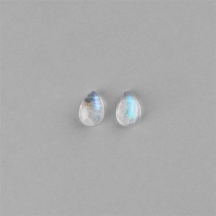 4cts Rainbow Moonstone Pear Cabochons 10x7mm. (Pack of 2)