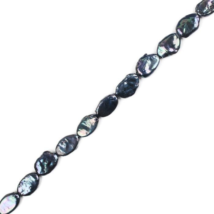 Steel Blue Freshwater Cultured Oval Pearls Approx 10x17mm, 38cm Strand