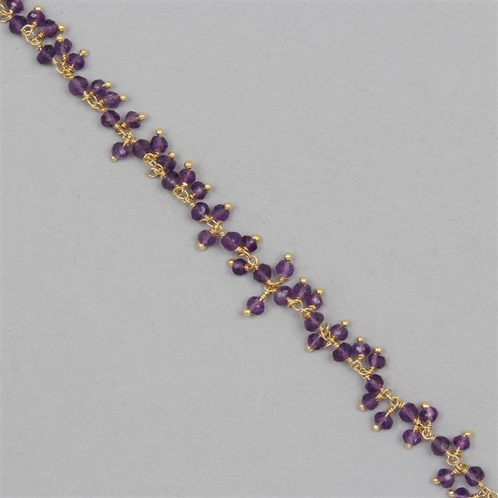 Gold Plated 925 Sterling Silver Gemstone Cluster Chain Inc. 30cts Amethyst Faceted Rondelles Approx 3x2mm, Length Approx 50cm