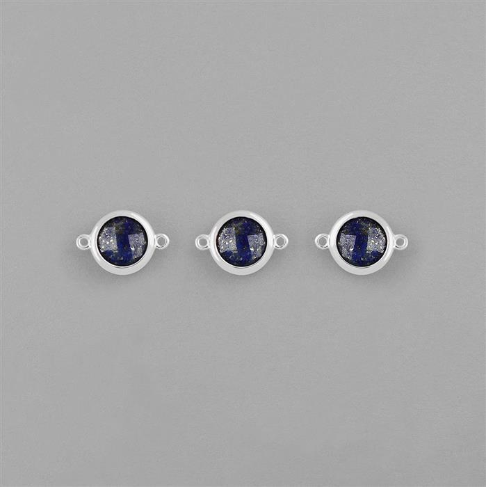 925 Sterling Silver Bezel Connectors Approx 14x10mm Inc. 5.60cts Lapis Lazuli Briolette Cut Round Approx 8mm. (Pack of 3)