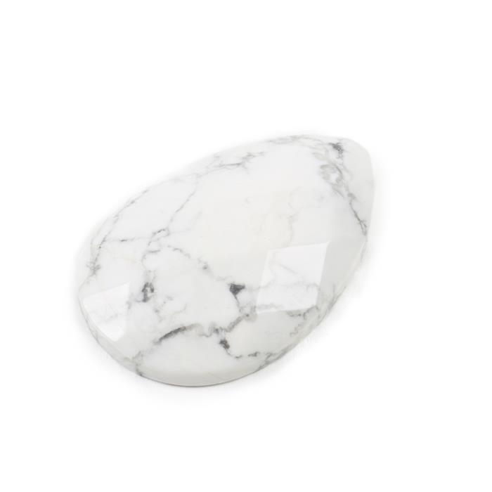 160cts White Howlite Faceted Pear Cabochon Approx 40x60mm