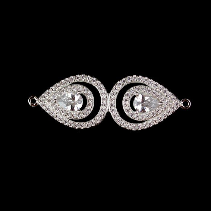 925 Sterling Silver Cubic Zirconia  Eye Shape Connector Approx 15x44mm, 1pcs