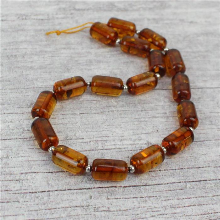 Baltic Cognac Amber Rounded Barrel Beads Approx 10x6mm 20cm Strand, 925 Silver Spacers
