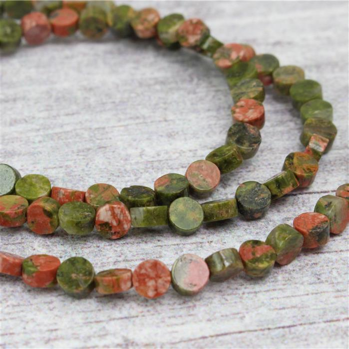 30cts Unakite Buttons Approx 4mm 38cm strand