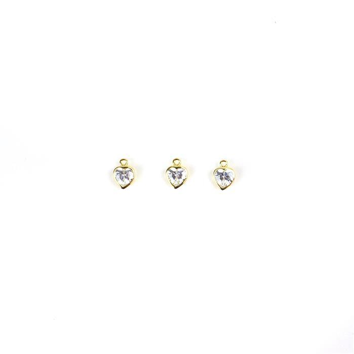 Gold Plated 925 Sterling Silver Cubic Zirconia Heart Charms, Approx 9mm, 3pcs
