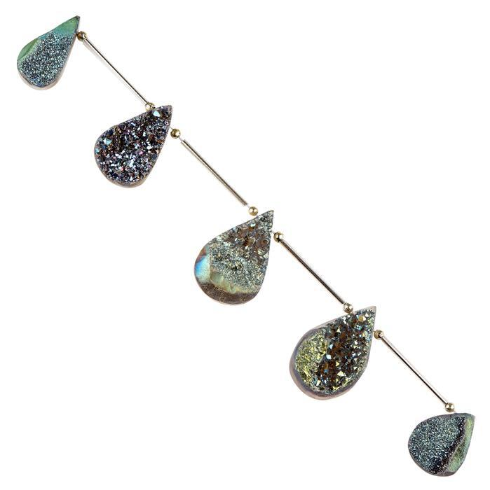 172cts Greenish Blue Colour Coated Druzy Quartz Graduated Top Drilled Pears Approx 21x14 to 31x18mm, 16cm Strand.