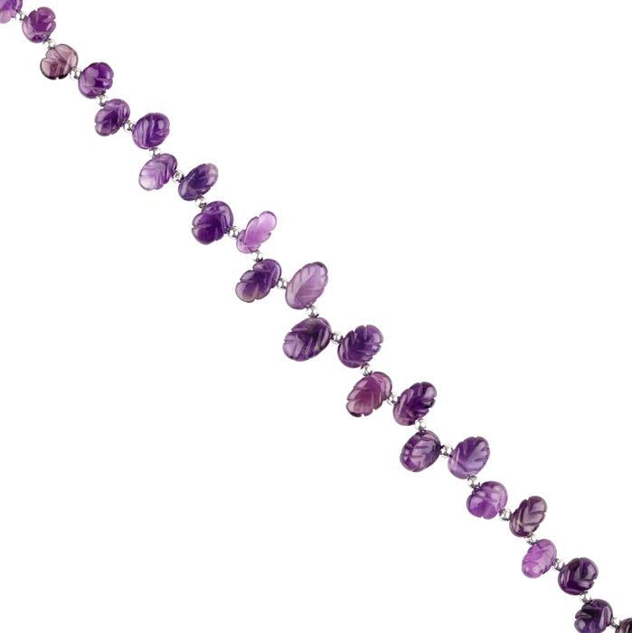 80cts Amethyst Graduated Carved Top Drilled Ovals Approx 9x6 to 13x8mm, 20cm Strand.