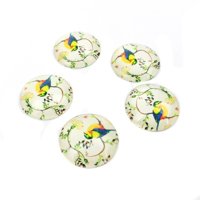 Vintage Ivory Bird Glass Cabochons, Approx 25mm (5pcs/pack)