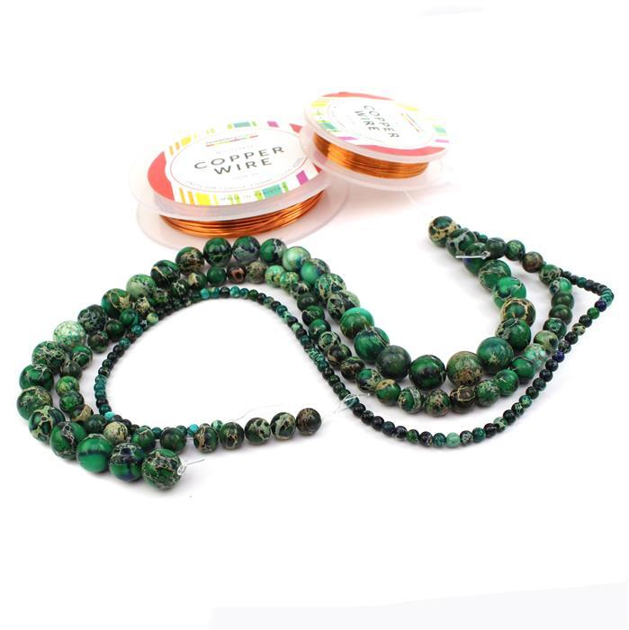 Deep Sea: Blue Green Variscite in 4mm, 8mm & 12mm, 0.4mm & 1.0mm Copper Wire
