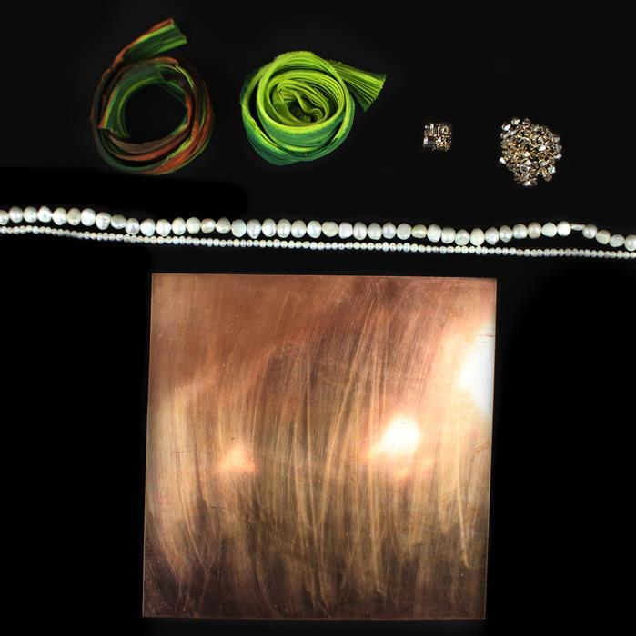 Spring Greens Collection Inc Swarovski Golden Shadow Cube Beads & 1/2 Yard Spring Bud Shibori Silk Ribbon