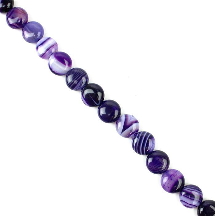 190cts Purple Stripe Agate Puffy Coins Approx 12mm, 38cm/strand