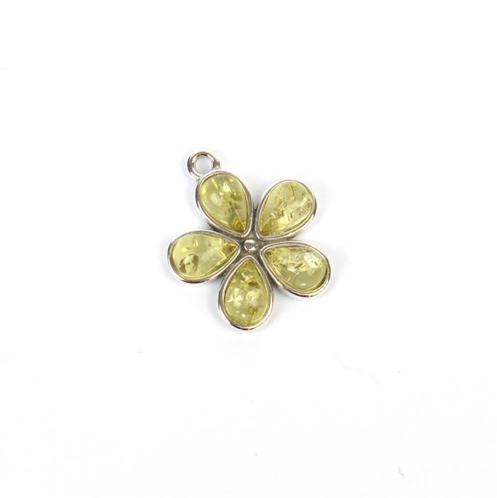 Baltic Lemon Amber Drop Cabochon Sterling Silver Flower Pendant Approx 16x18mm
