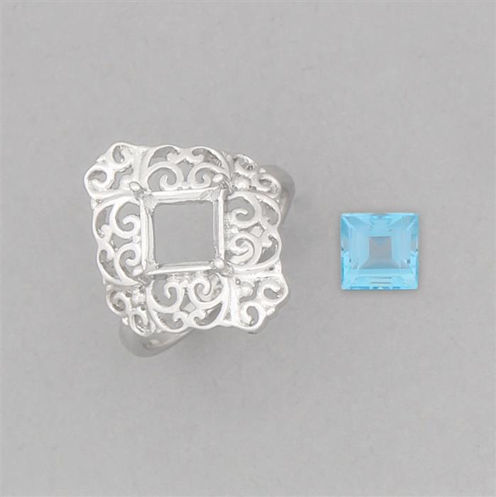 Size 7 925 Sterling Silver Medieval Ring Mount Fits 7mm Square Inc. 2cts Swiss Blue Topaz 7mm Square