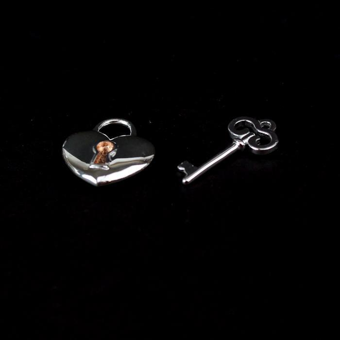 925 Sterling Silver 3D Padlock & Key Charm with Rose Gold Plated Keyhole 14x13mm & 17x8mm, 1pc