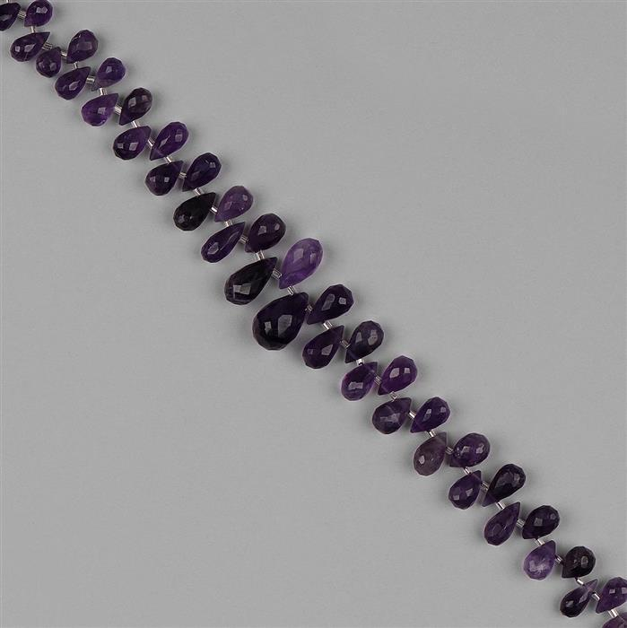 125cts Amethyst Graduated Faceted Drops Approx 6x4 to 14x10mm, 20cm Strand.