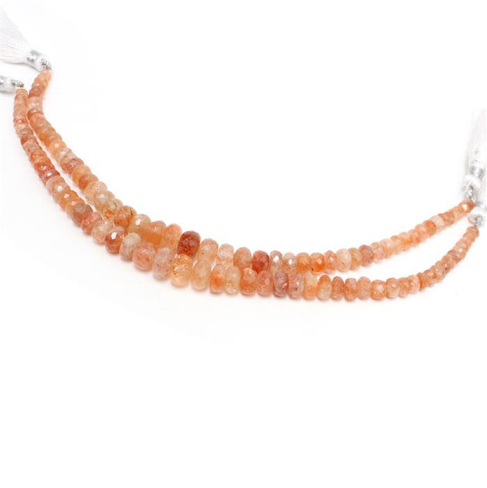 2x 64cts Sunstone Graduated Faceted Rondelles Approx 2x1 to 9x6mm, 18cm Strand.