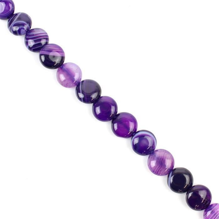 130cts Purple Stripe Agate Puffy Coins Approx 10mm, 38cm/strand