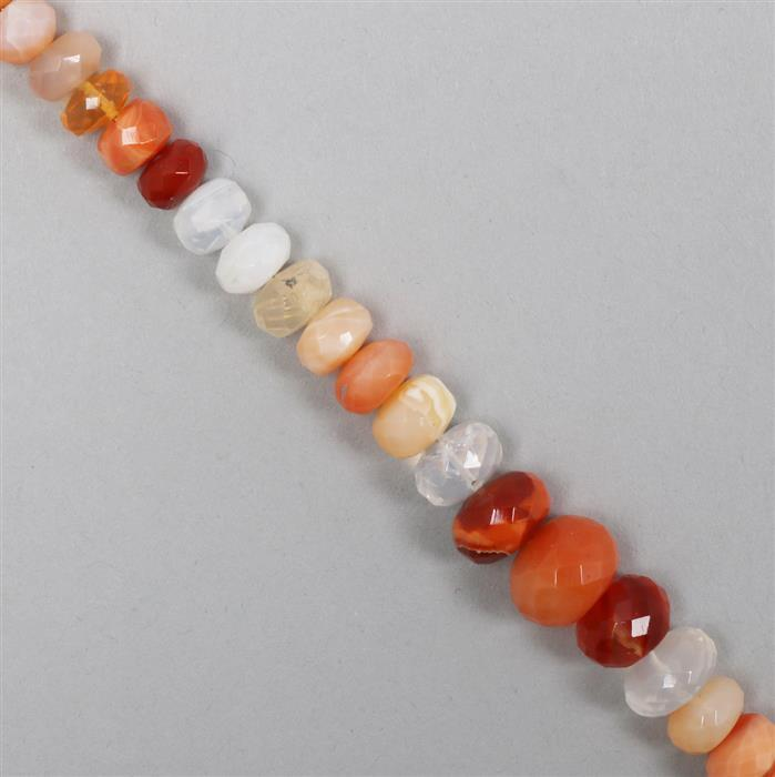 55cts Shaded Fire Opal Graduated Faceted Rondelles Approx From 4x2 to 10x5mm, 18cm Strand.