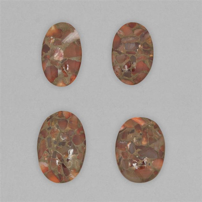 132cts Copper Matrix Carnelian Multi Shape Cabochons Assortment.