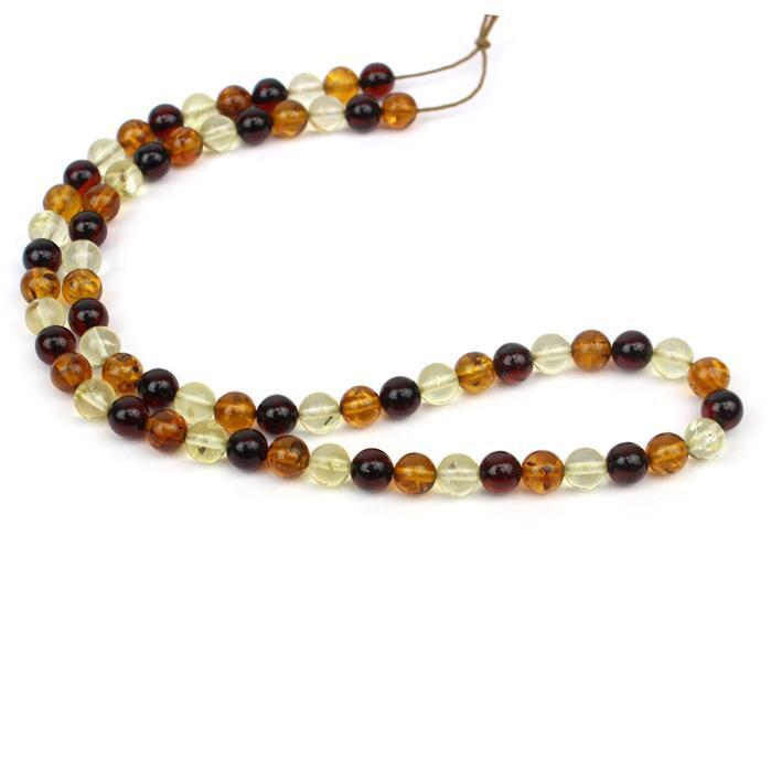 Baltic Multi-Colour Amber Round Bead 6mm Strand 38cm