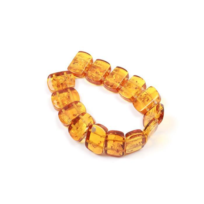 Baltic Amber Double Drilled Rectangular Beads Approx 15x10mm, 14.5cm