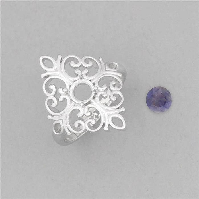Size 7 925 Sterling Silver Medieval Ring Mounts Fits 5mm Round Inc. 0.30cts Orissa Iolite 5mm Round