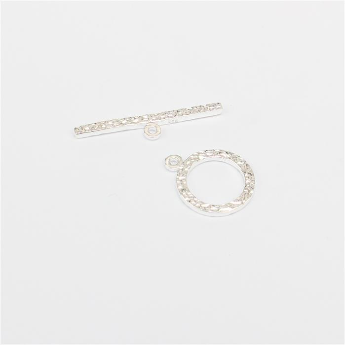 925 Sterling Silver Hammered Effect Toggle Clasp Approx 17x14mm Ring 28x6mm Bar 1pc