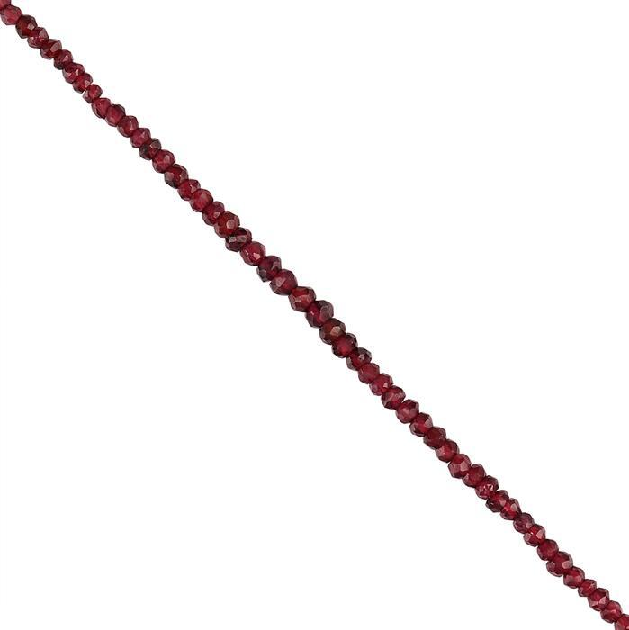 36cts Red Garnet Graduated Faceted Rondelles Approx 2x1 to 4x2mm, 30cm Strand.