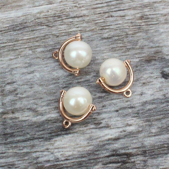 Rose Gold Plated 925 Sterling Silver Freshwater Cultured Pearl Charms Approx 12mm, Pearl 8mm 3pcs