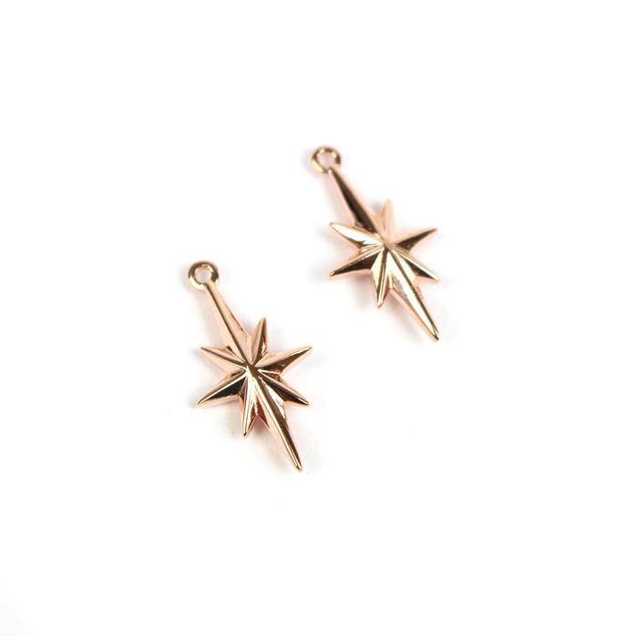 Rose Gold Plated 925 Sterling Silver North Star Charms 18x10mm 2pcs