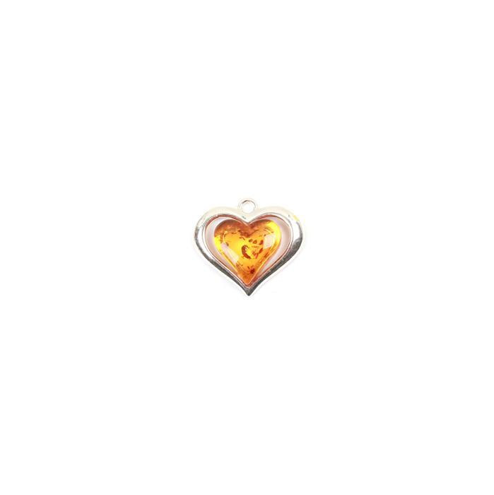 Baltic Cognac Amber Heartshape Sterling Silver Pendant Approx 17x15mm