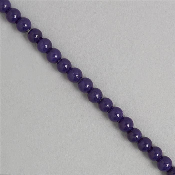 90cts Purple Colour Dyed Quartz Plain Rounds Approx 6mm, 36cm Strand.
