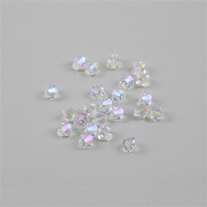 Swarovski Crystal Beads - Pack of 24 Bicone 5328 - 6mm Crystal Shimmer 2x