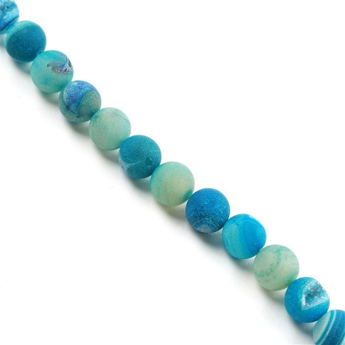 380cts Blue Agate Frosted Rounds with Druzy Hole Approx 12mm, Approx 38cm/strand