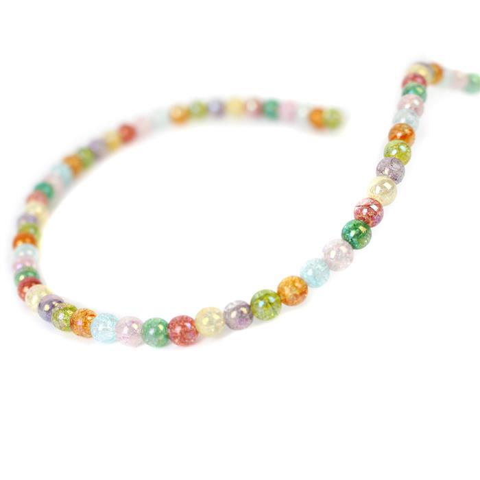 30cts Rainbow Coated Crackled Multi-Colour Quartz Plain Rounds Approx 4mm, Approx 38cm strand