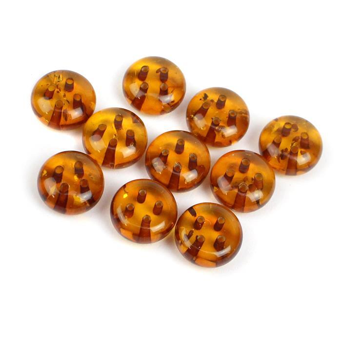 Baltic Cognac Amber Round Buttons Approx 10mm (Pack of 10)