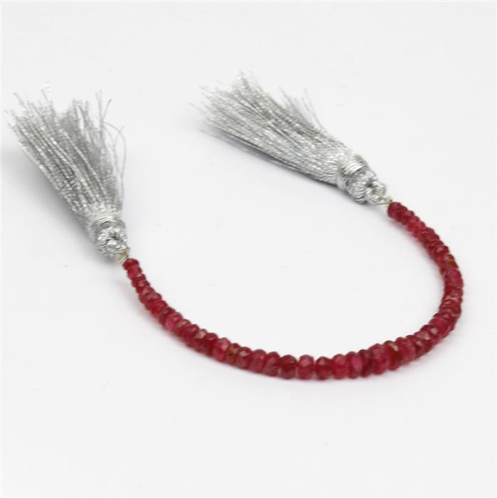 10cts Red Spinel Graduated Faceted Rondelles Approx 1.5x1 to 4x2.5mm, 10Cms Strand