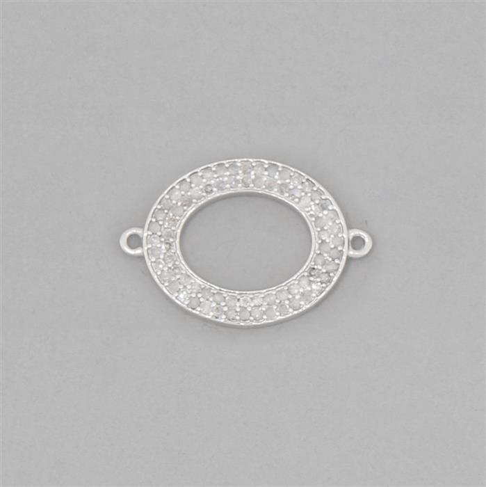 The Diamond Collection: 925 Sterling Silver Connector Approx 22x15mm Inc. 0.37cts Diamonds Round Approx 1mm