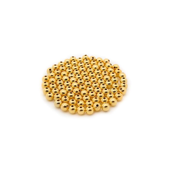 Gold Coloured Brass Round Beads - 4mm (100pcs/pk)
