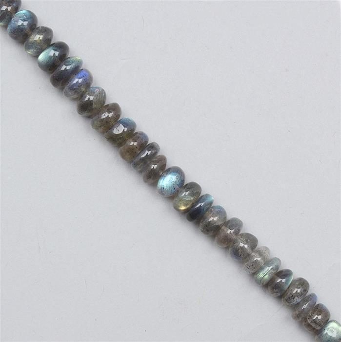 190cts Labradorite Graduated Plain Rondelles Approx 5x2 to 9x4mm, 46cm Strand.