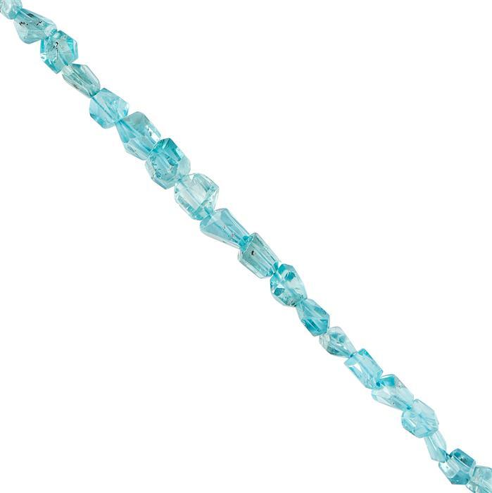 35cts Blue Zircon Graduated Step Cut Nuggets Approx 4x4 to 6x5mm, 14cm Strand.